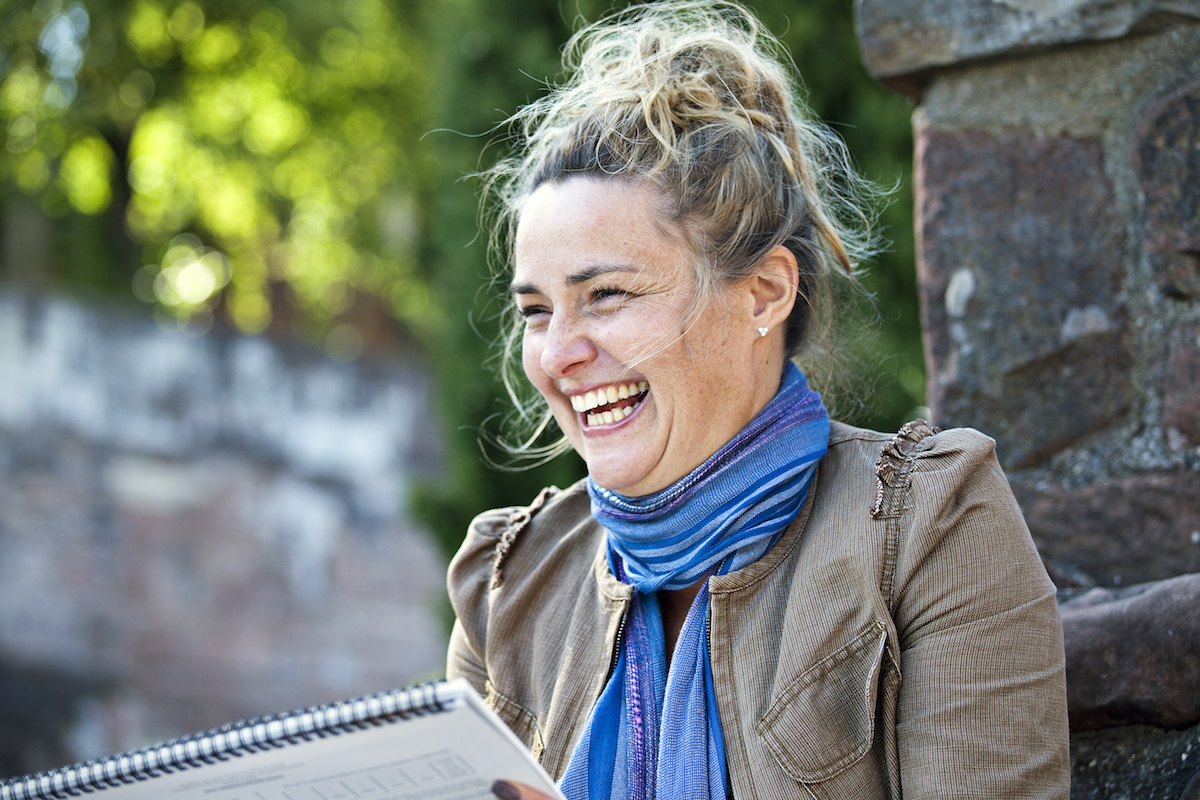 Johannah, Portrait of Johannah, outside sketching in the grounds of Cheshire park