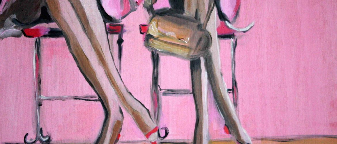 Oil painting by Johannah. bright pinks and image of 2 women seated at a cafe