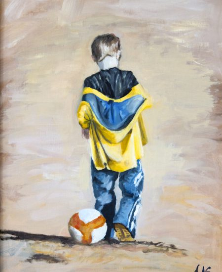 Original painting, oil on canvas. Colour painting of boy waking away from a football, Bright yellow jacket falling off his shoulders