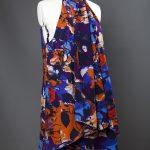 Designer dressmaker, Johannah, Client Testimonial. Collar dress, with wrap over section, bright colours